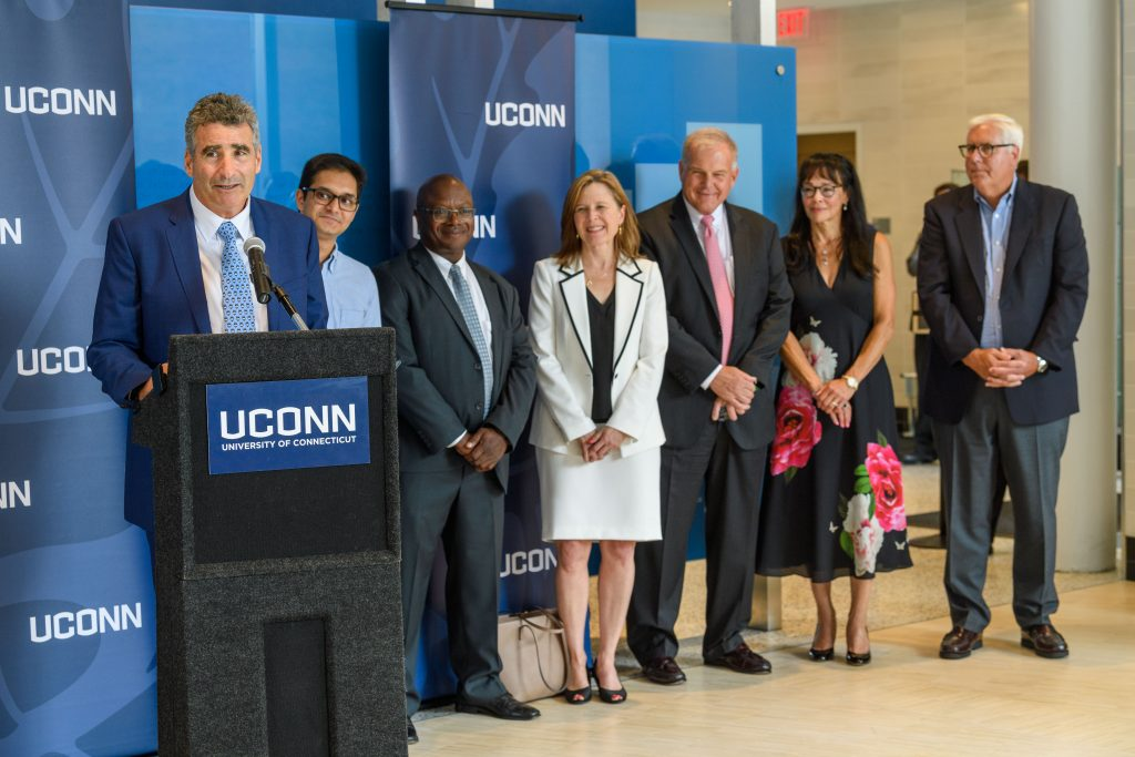 President Tom Katsouleas speaks at an event to introduce the new Board of Trustees chair Dan Toscano '87 (BUS) at the Engineering Science Building on Sept. 4, 2019. (Peter Morenus/UConn Photo)