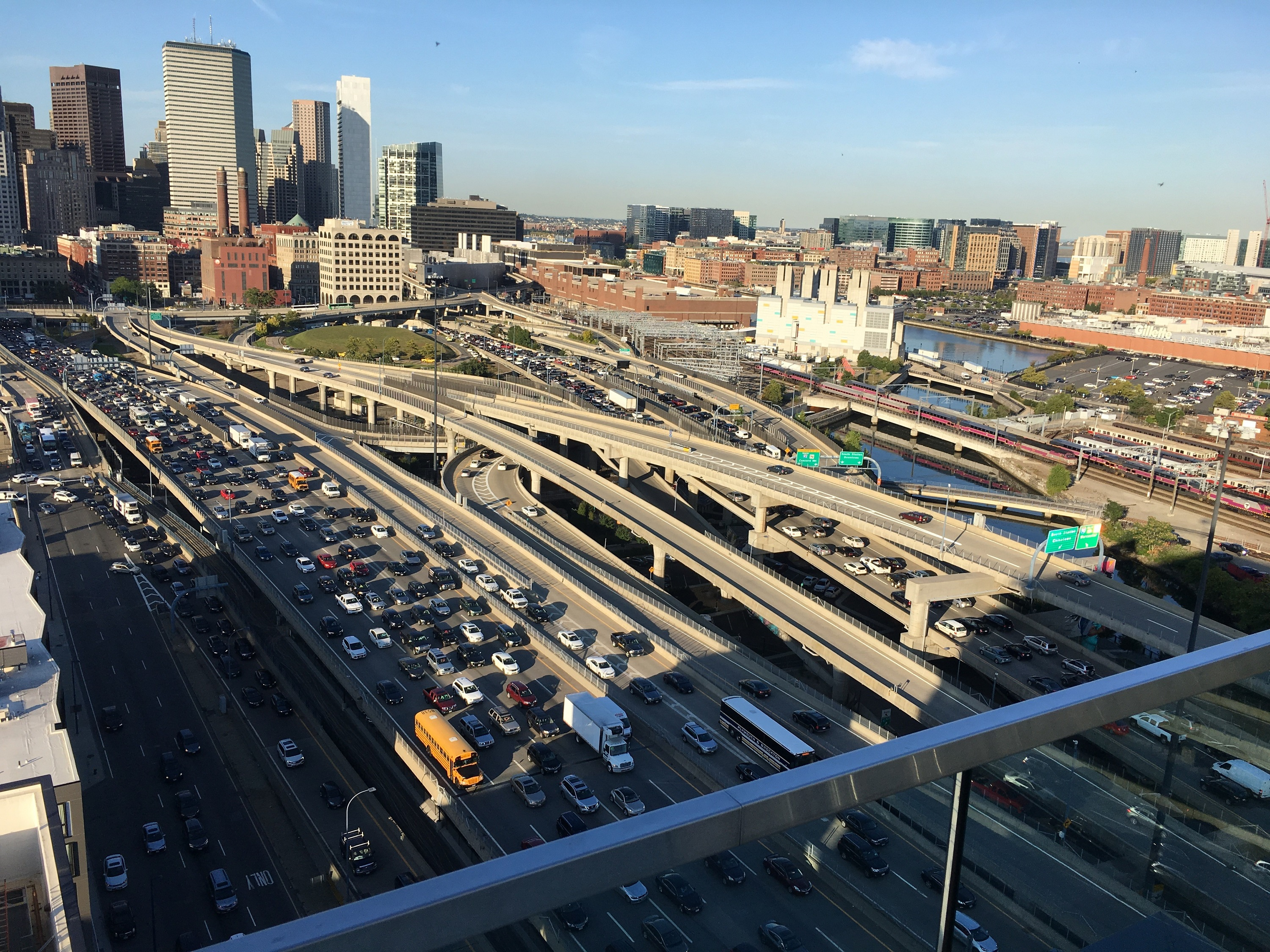 View from tall building of Downtown Boston taffic
