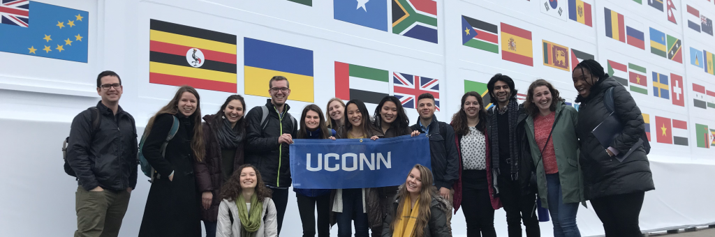 Faculty & students at COP24 in Katowice, Poland, December 2018 (UConn Office of Sustainability) .