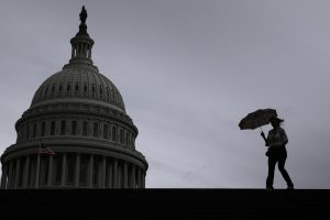 A view of the US Capitol building on a gray and stormy day