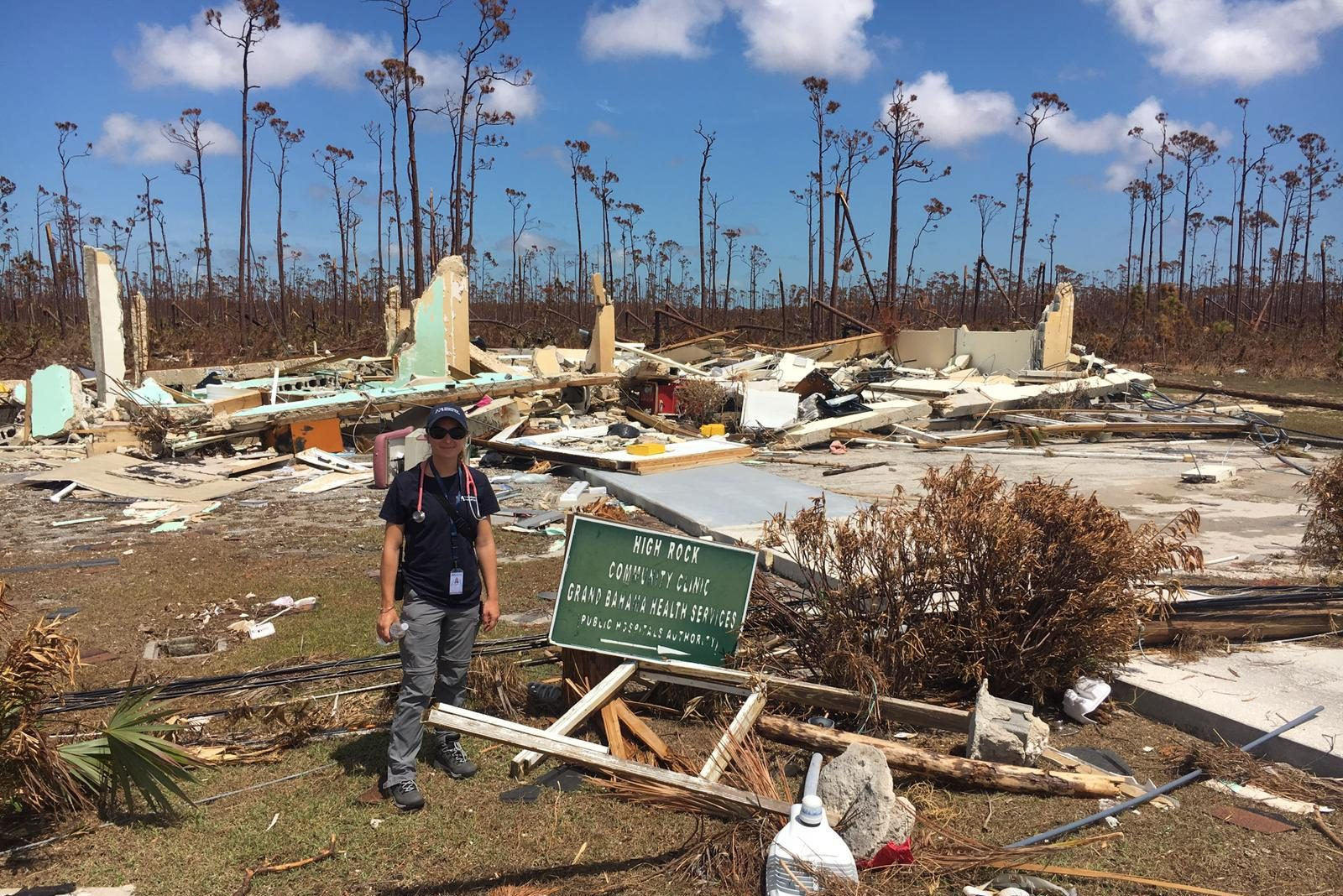 UConn's Dr. Natalie Moore in the Bahamas at the site where a hospital stood before Hurricane Dorian. Moore and Amanda Ramsdell from the UConn Health Emergency Department are working with the International Medical Corps, which is establishing a tent hospital to care for patients on Grand Bahama Island. (Submitted Photo)