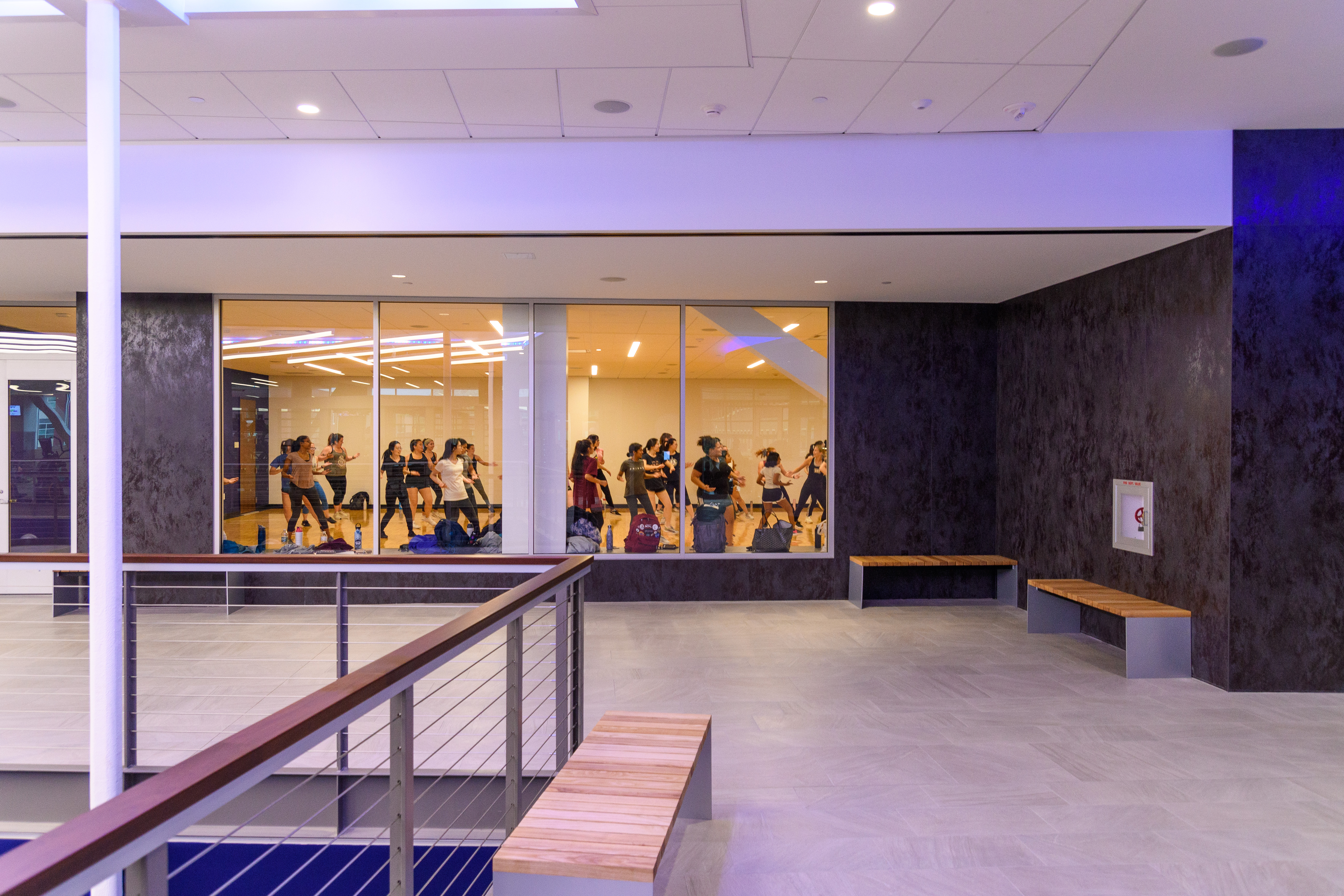 Students exercise at the new Student Recreation Center