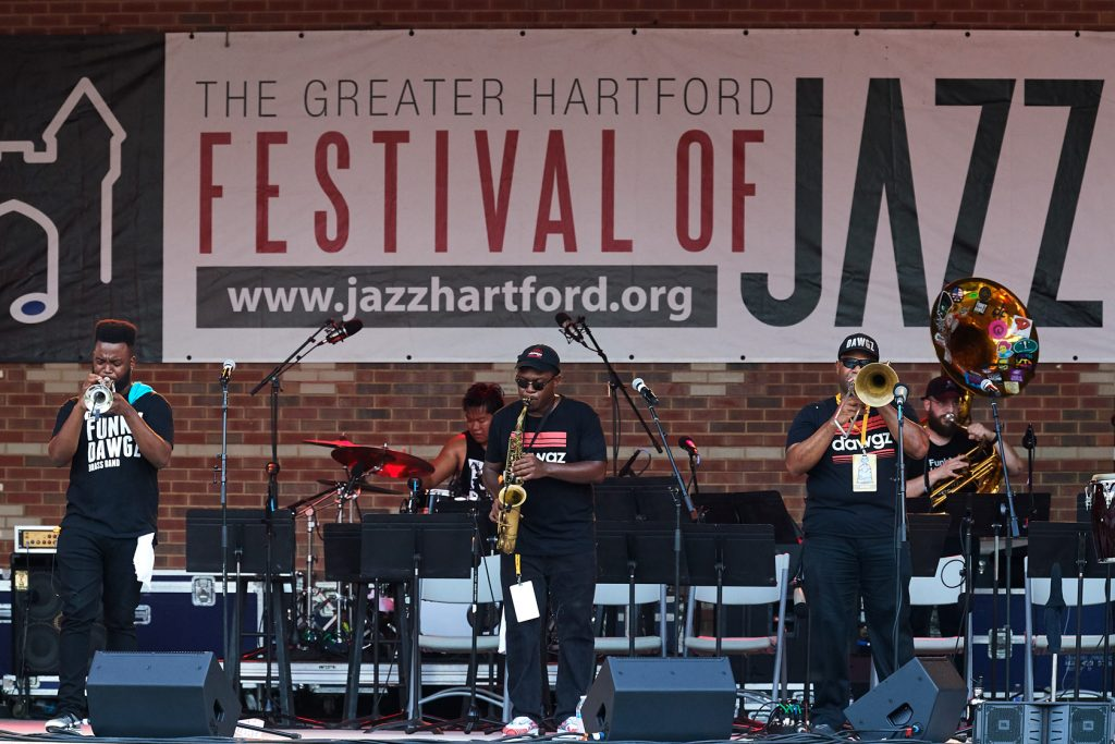 At Hartford Jazzfest this summer left to right: Jeremy Baouche '19 (ENG), Aaron Eaddy '14 (ENG), Singngam, Walters, Marsters, and McNeill.