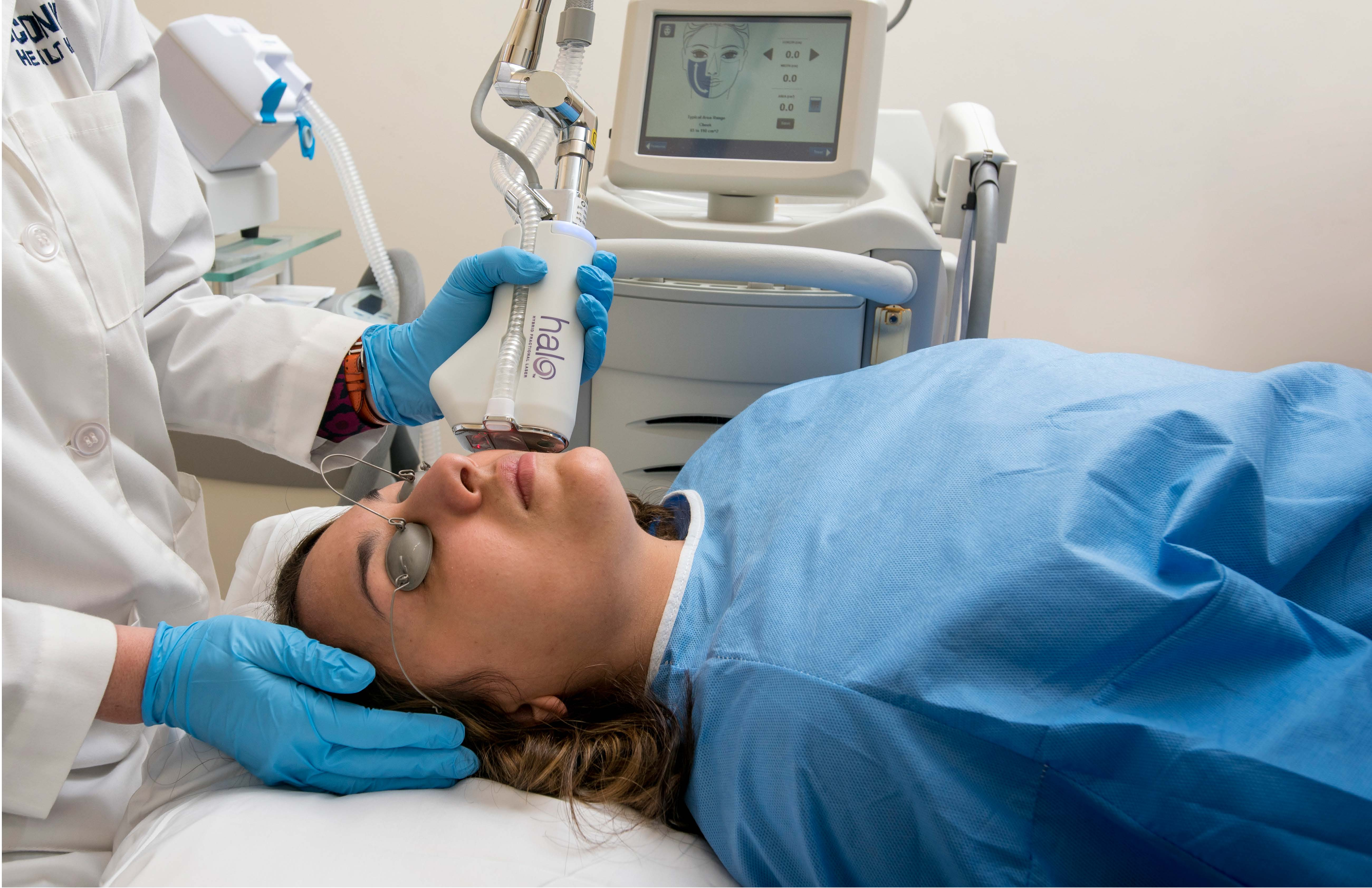 Patient undergoing cosmetic laser surgery