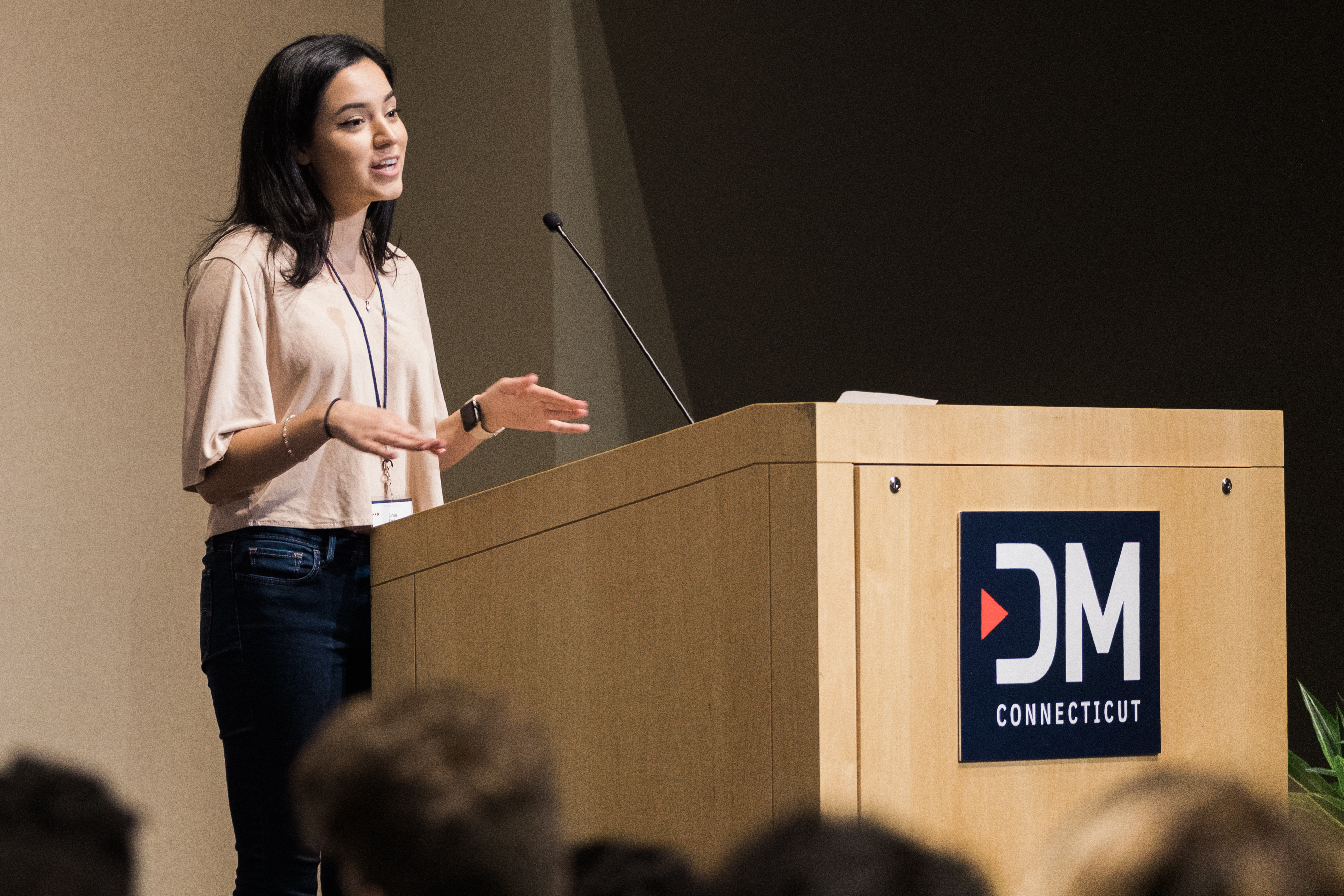 Carlotta Charles, user interface/user experience (UI/UX) designer with Cigna Health, spoke to students, faculty and industry professionals during the Digital Media CT Summit held at UConn's Stamford campus. (Cat Boyce SFA '15, '19/ UConn Photo)