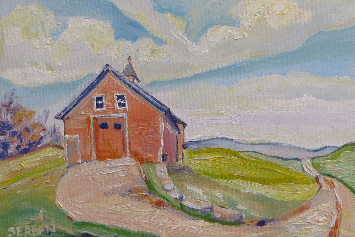 The barn sits watchful by the road (or The Barn), oil by Blanche Serban.