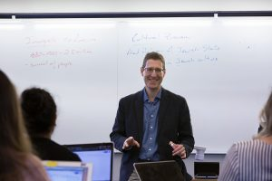 Avinoam Patt, the Doris and Simon Konover Chair of Judaic Studies and director of the Center for Judaic Studies and Contemporary Jewish Life, leads a class on Modern Jewish Thought. (Bri Diaz/UConn Photo)