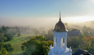 Views of campus with foggy weather. (Tom Rettig/UConn Photo)