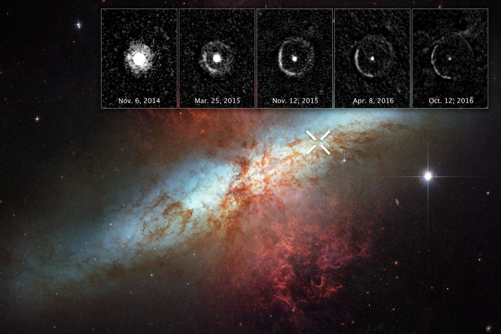 """Light from a supernova explosion in the nearby starburst galaxy Messier 82 is reverberating off a huge dust cloud in interstellar space. The supernova, called SN 2014J, occurred at the upper right of Messier 82, and is marked by an """"X."""" The supernova was discovered on 21 January 2014. The inset images at the top reveal an expanding shell of light from the stellar explosion sweeping through interstellar space, called a """"light echo."""" The images were taken over 10 months to nearly two years after the violent event (NASA)"""