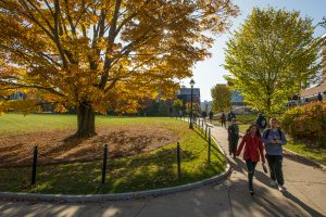 Students walk on campus as trees display fall color
