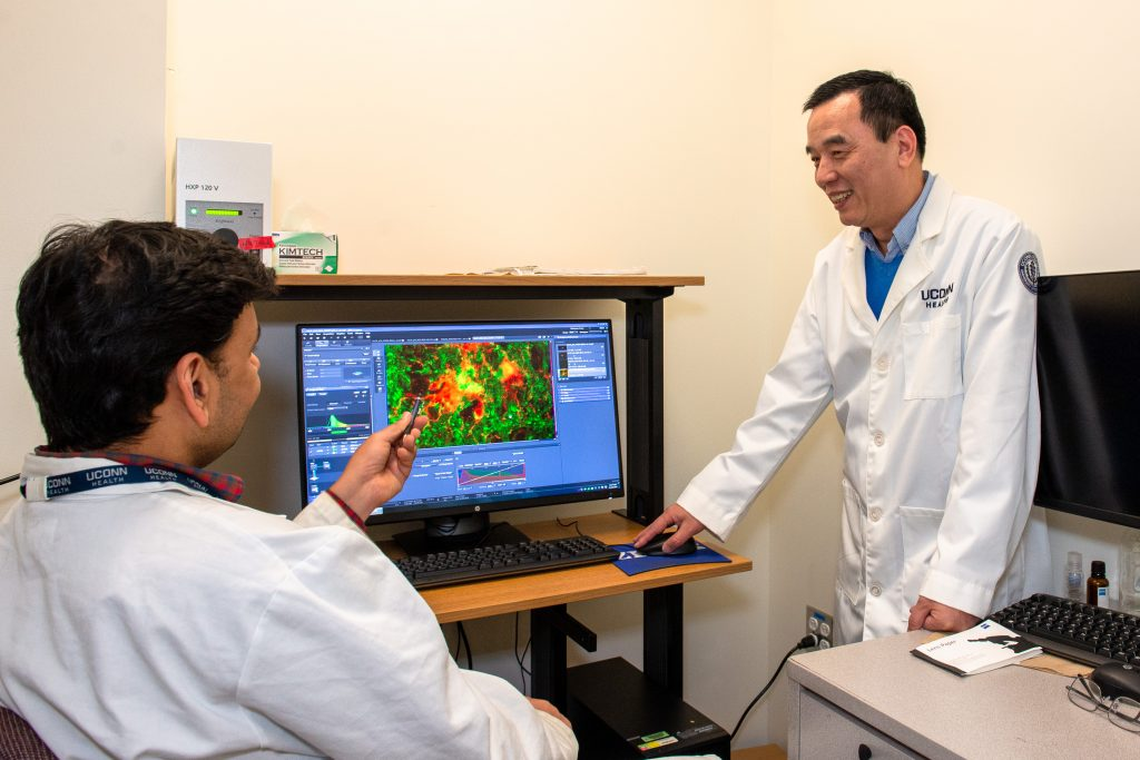 Dr. Riqiang Yan speaks with a student in front of a computer model of a human brain about his work researching Alzheimer's disease.