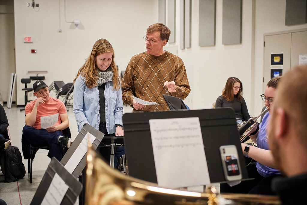 Kenneth Fuchs teaches a music composition class at UConn.