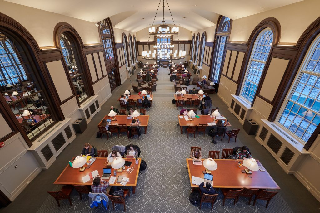 Students studying at the Wilbur Cross South Reading Room