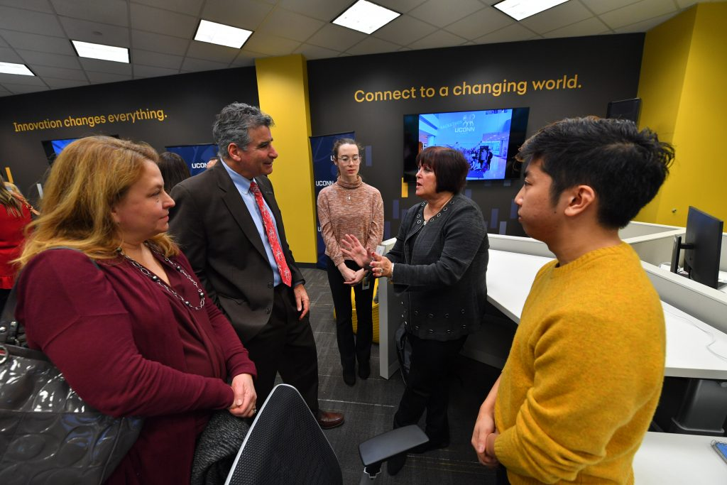 Synchrony CEO Margaret Keane speaking with UConn President Thomas Katsouleas.