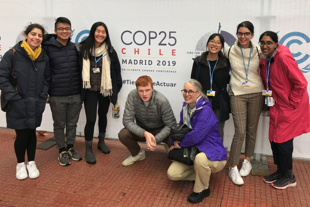 Louanne Cooley and fellow UConn students at COP25 in Madrid