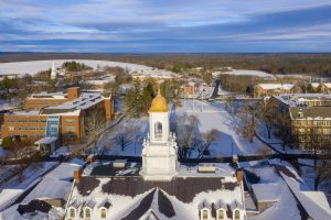 Aerial drone views of the first snowstorm of the semester on Dec. 3, 2019. (Tom Rettig/UConn Photo)