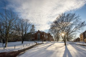 Winter scene of Wilbur Cross after a snow storm on Dec. 3, 2019. (Sean Flynn/UConn Photo)