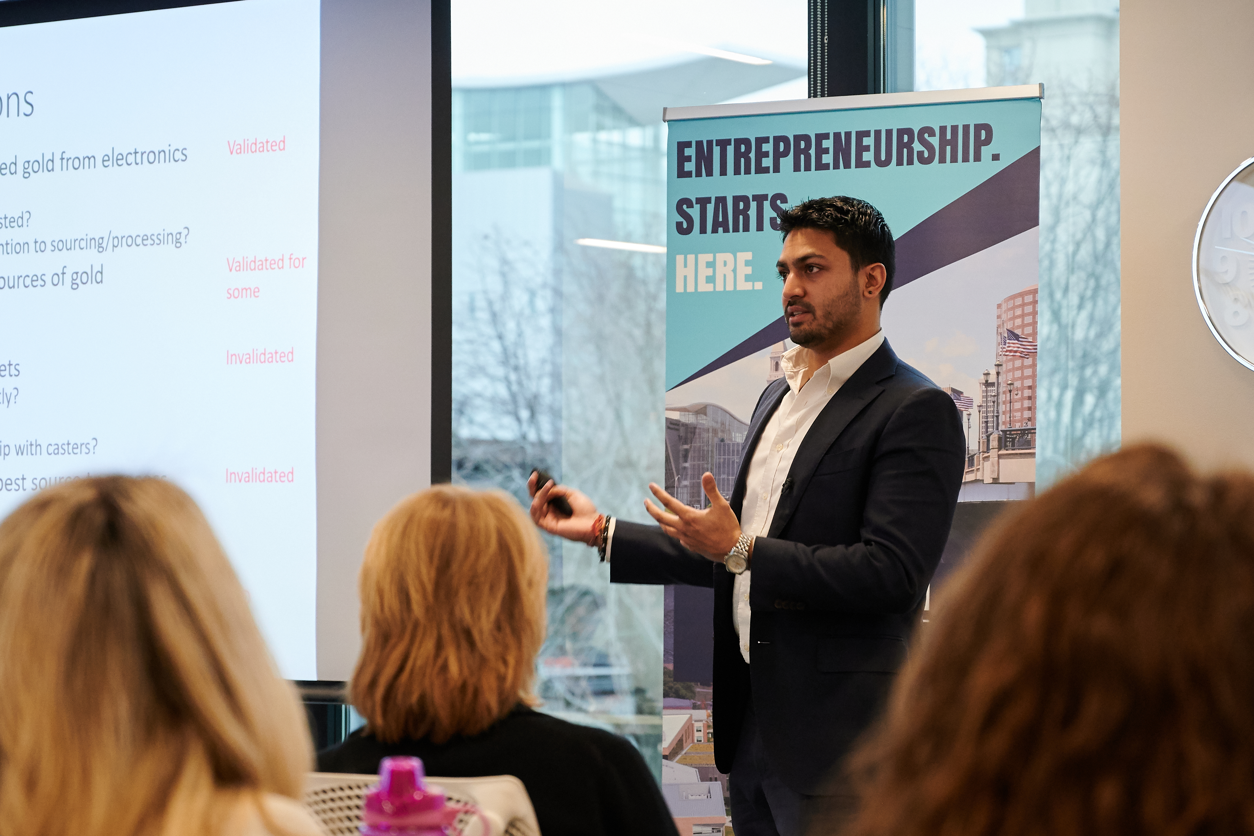 A student gives a presentation during the Accelerate UConn innovation session in the fall of 2019.