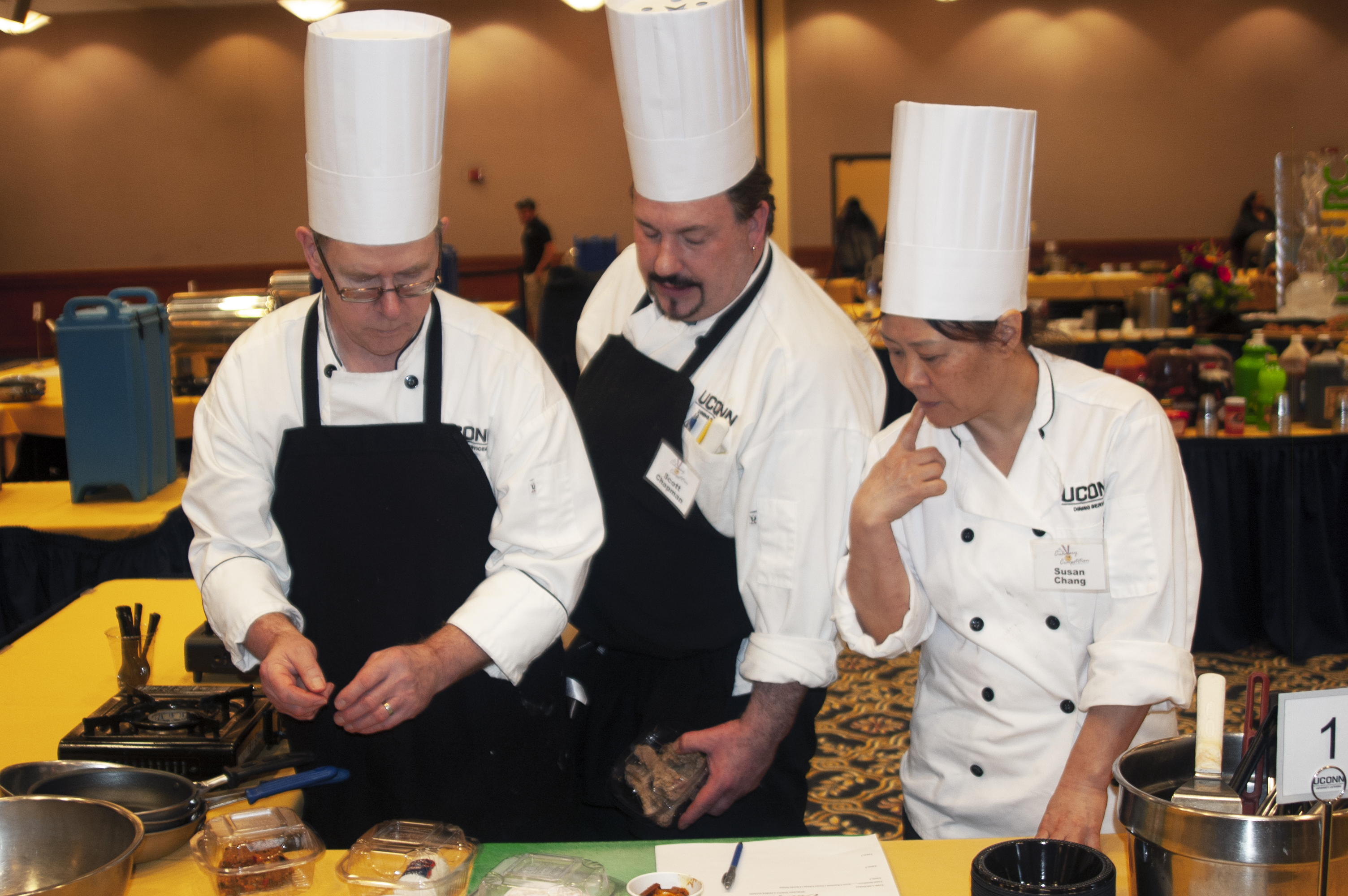 Chefs workign in a culinary competition