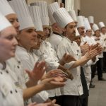 UConn chefs line up before the start of the Boiling Point Competition on Jan. 14, 2020. (Sean Flynn/UConn Photo)