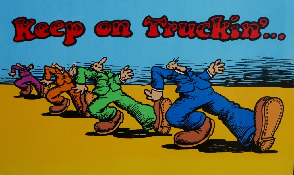 "A drawing by R. Crumb entitled ""Keep On Truckin'"""