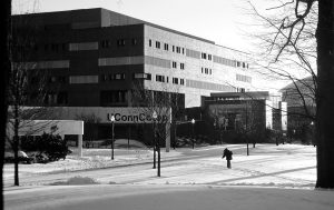 Snow covers Fairfield Way during the 1999-2000 academic year. (Peter Morenus/UConn File Photo)
