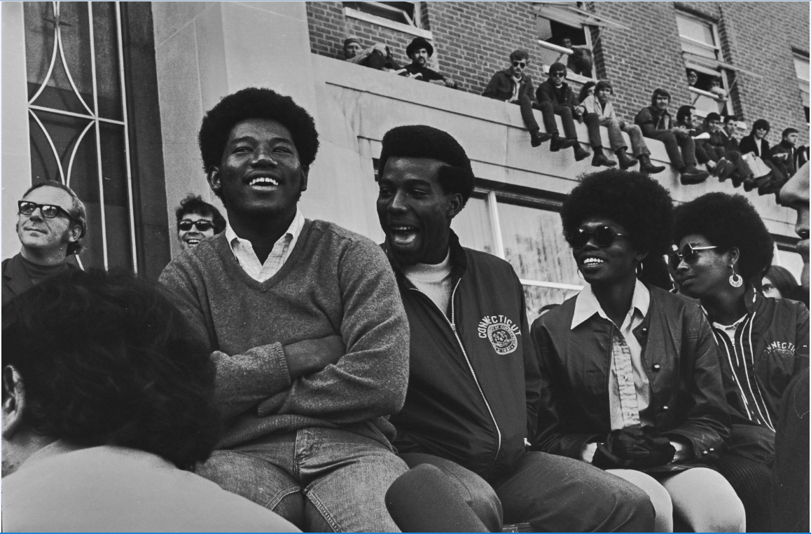 A group of students in front of the Student Union during an antiwar protest on October 15, 1969.