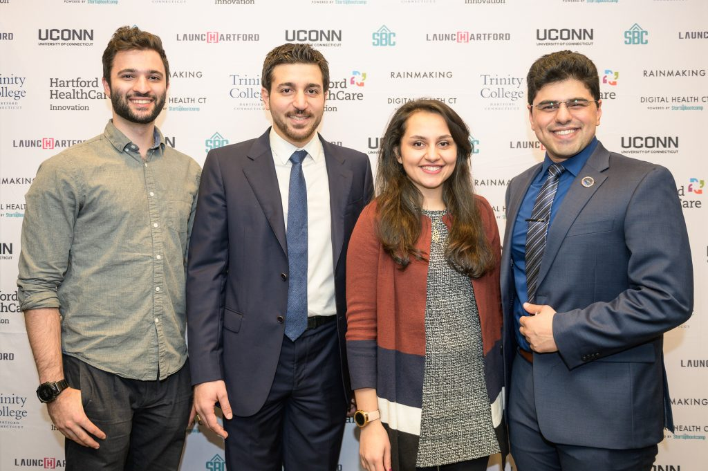 Khashayar Dashti, co-founder and COO for QRfertile; Reza Amin, Ph.D., co-founder and CEO of QRfertile ; Leila Daneshmandi, co-founder of Encapsulate, and Armin Tahmasbi Rad, co-founder and CEO of Encapsulate. (UConn School of Business/Nathan Oldham)