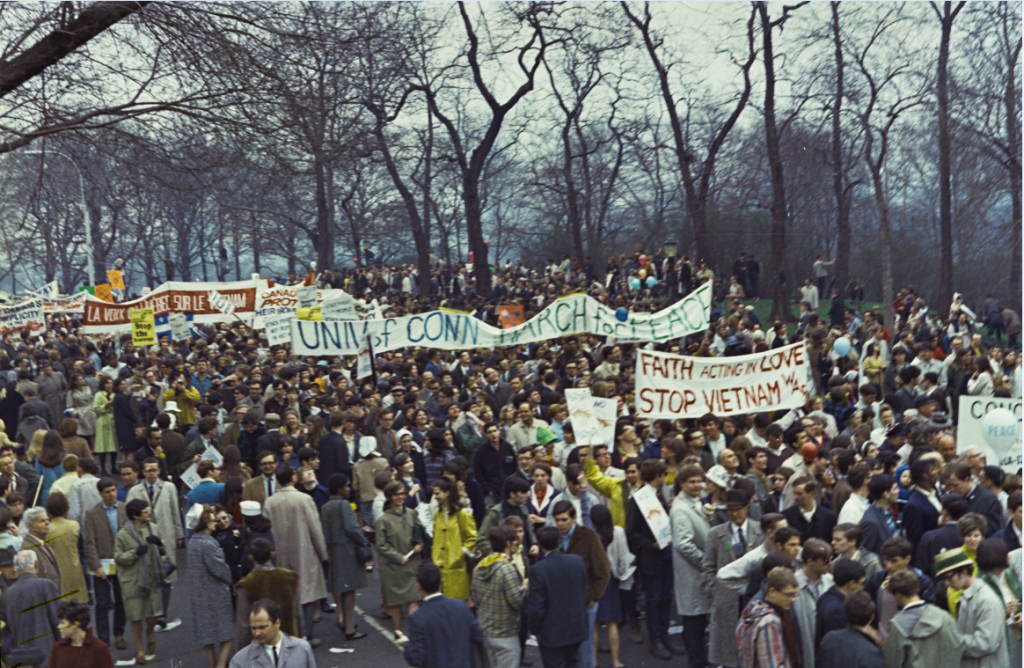 A large group of UConn students participating in an antiwar march in New York City on April 15, 1967.