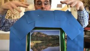 John Bell, director of the Ballard Institute and Museum of Puppetry, turned a cardboard box into a toy theater during an online workshop that can be found at the Ballard website. (Photo courtesy Ballard Institute and Museum of Puppetry)