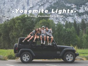 A still from the student-made documentary showing the four students posing together on top of the car they drove to Yosemite National Park.