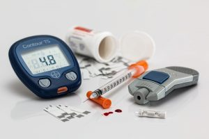 Diabetes testing materials displayed on a table