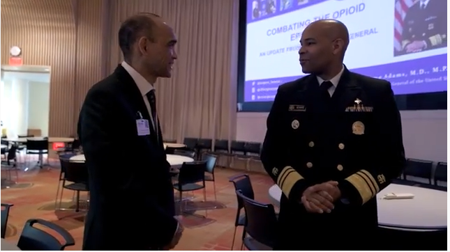 US Surgeon General Jerome Adams speaks with UConn Health CEO Dr. Andy Agwunobi.