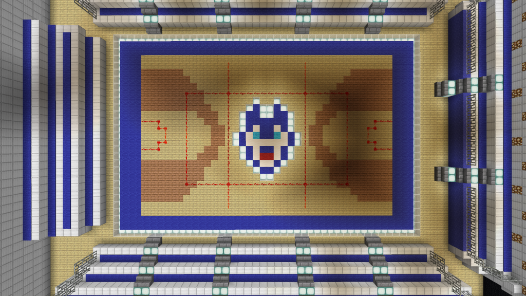 The iconic Gampel Pavilion floor, as it looks in Minecraft.