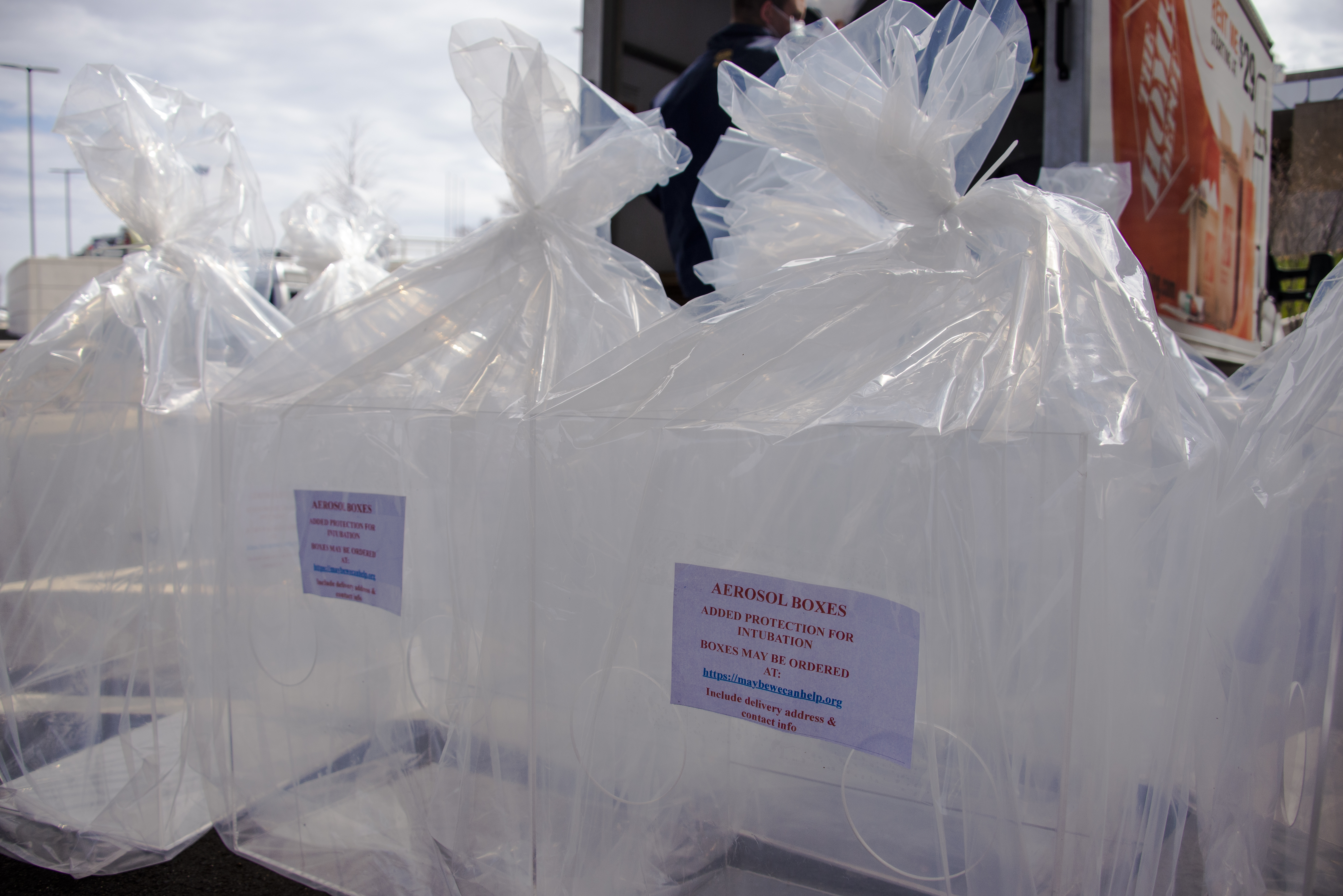 Intubation boxes manufactured and donated by KVC Builders of Waltham, Massachusetts to UConn Health and other area hospitals