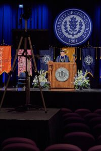 President Thomas Katsouleas speaks during the virtual Commencement ceremony broadcast from the Jorgensen Center for the Performing Arts on May 9, 2020. (Peter Morenus/UConn Photo)