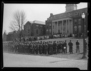 ROTC members are among the UConn students gathered in 1945 at a memorial service for President Franklin Roosevelt during World War II.