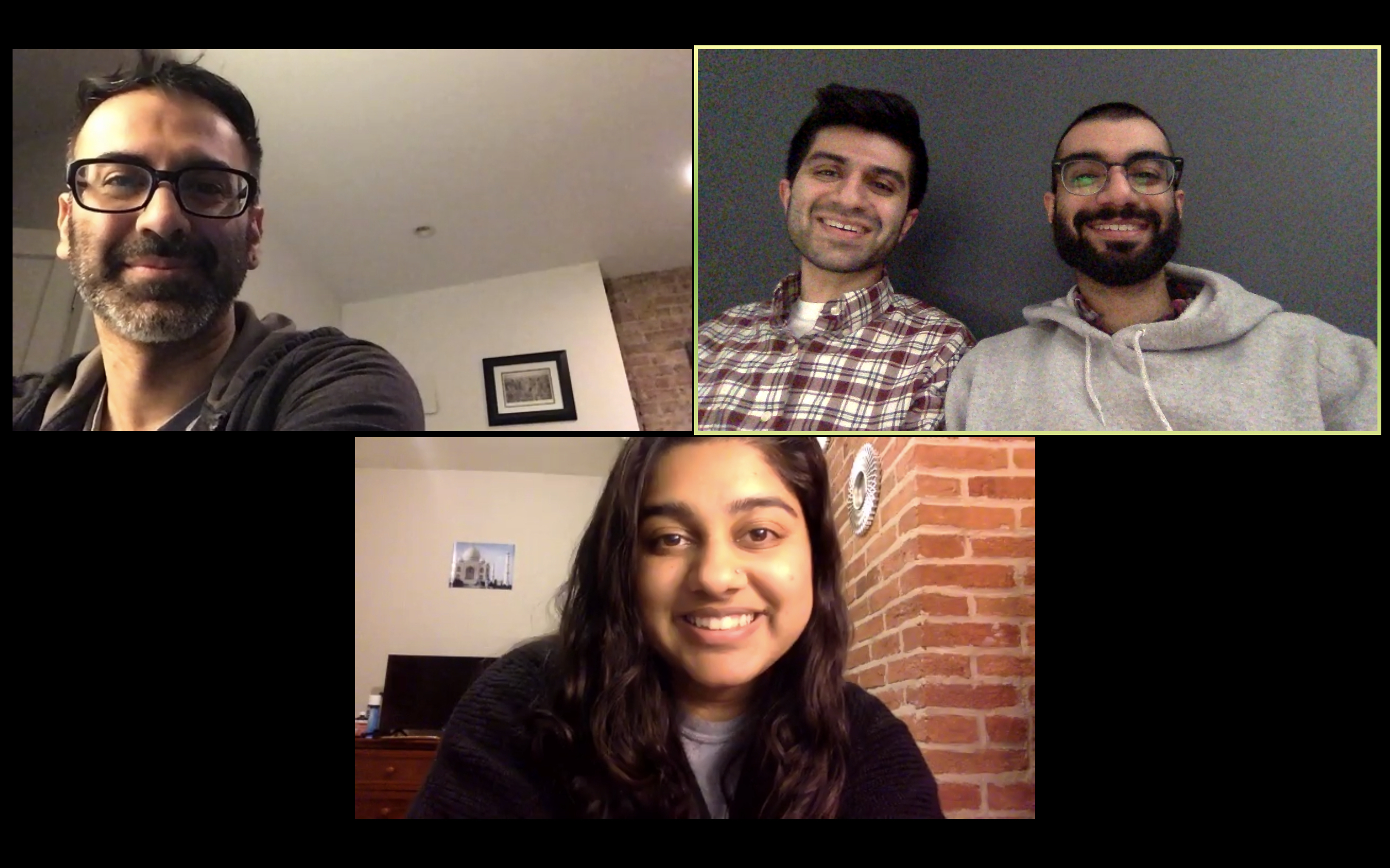 Aziz Sandhu (bottom), Sameer Laul (far right), Sahil Laul (center right) and Anupam Laul collaborated over Zoom video calls to design their product.