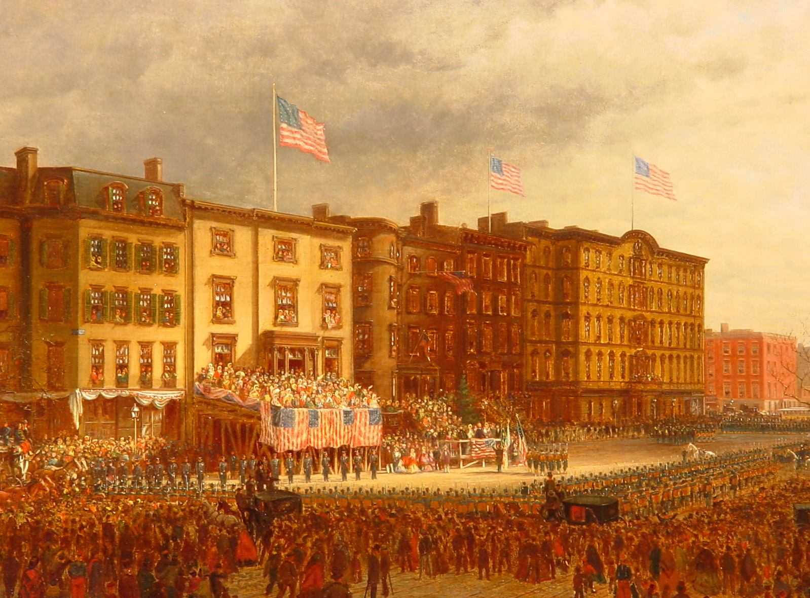 """""""The Presentation,"""" a 19th century painting depicting a celebration for the first black Union Army soldiers from New York as they set off for battle in New Orleans."""
