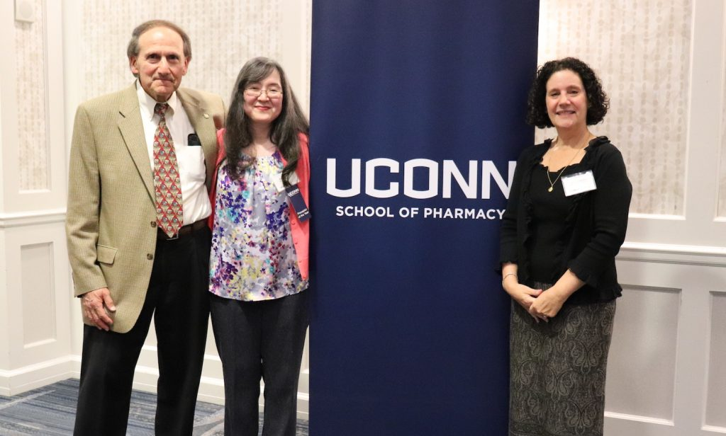 Left to right: Dennis Chapron , Devra Dang and Jill Fitzgerald, Director of Experiential Education at the 2019 UConn School of Pharmacy Preceptor banquet.