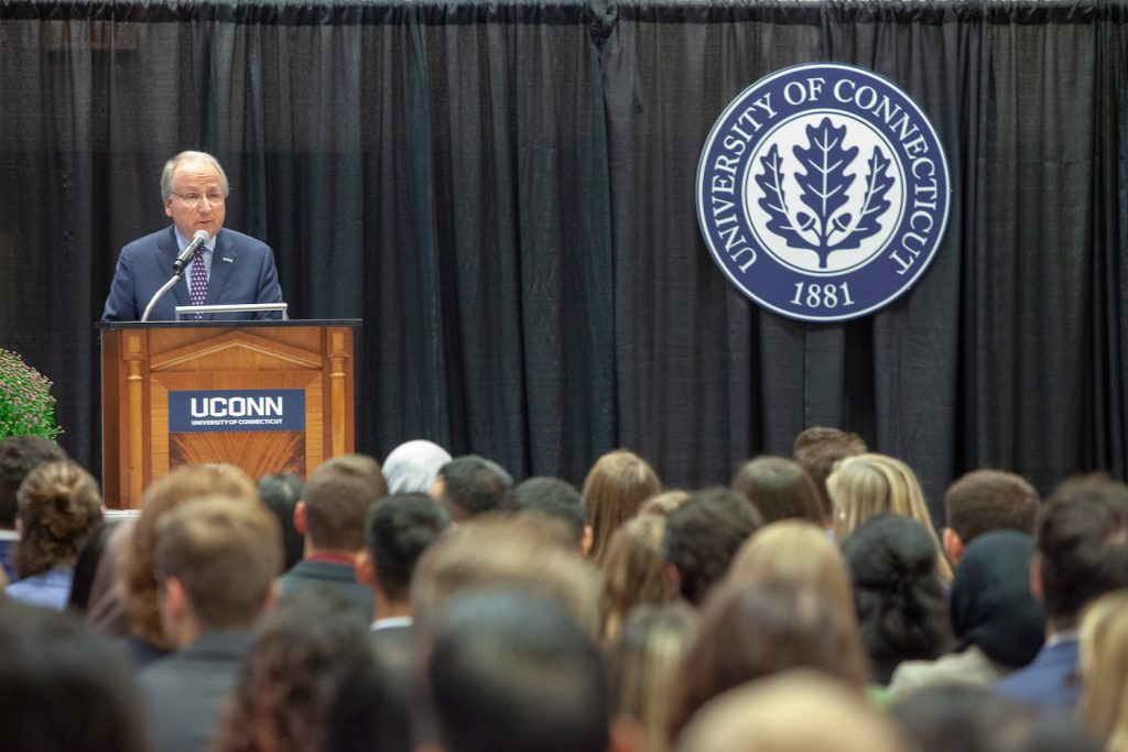 Phil Hritcko addresses students during the 2019 Professionalism Ceremony