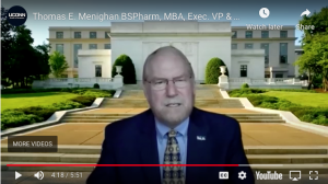 Screen shot of Thomas Menhigan speaking during UConn School of Pharmacy's Virtual Commencement