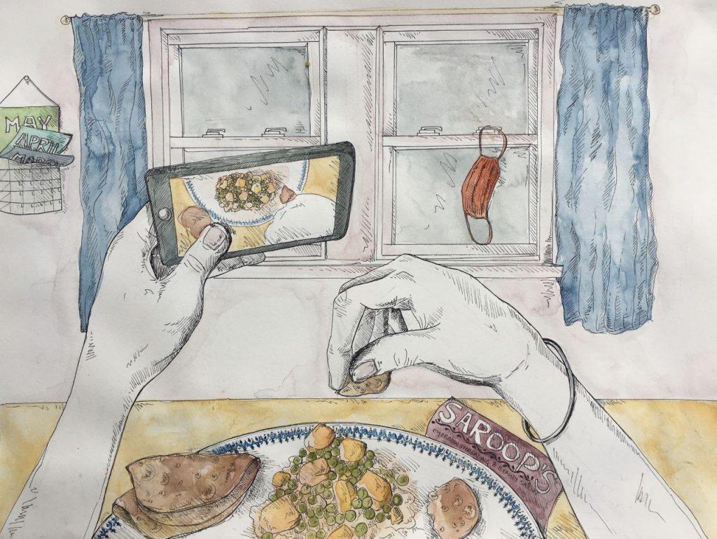 """An illustration by the artist Simi Kang of a reflection written by Tamanna Brar '20 (CLAS): """"I also feel blessed that my family can make home-cooked meals. In other words, my family is Punjabi therefore we cook Punjabi food that is enough for all of us at this time,"""" it reads in part."""