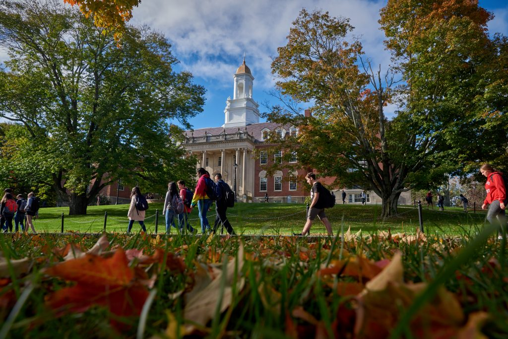 Students walk past the Wilbur Cross Building on Oct. 5, 2018. (Peter Morenus/UConn Photo)