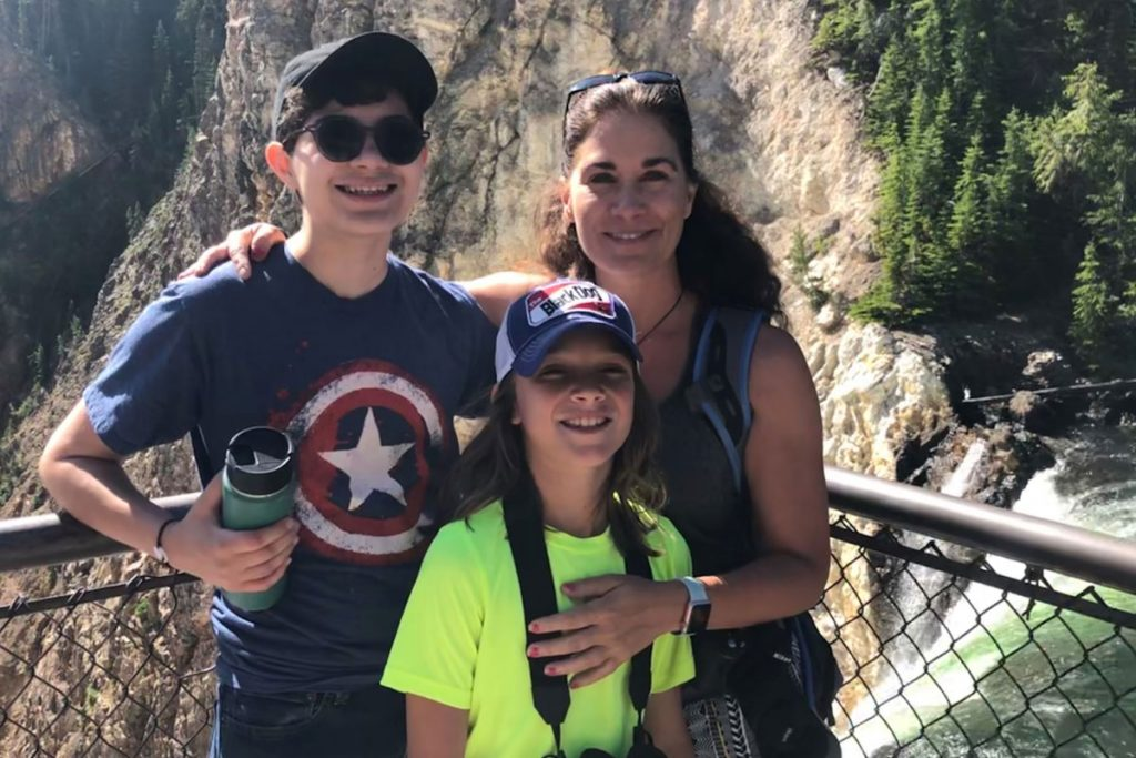 Dr. Andrews and sons at Yellowstone