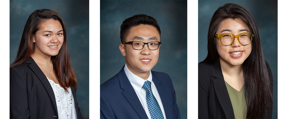 Pharmacy students Mai Vestergaard, Ethan Chang, and Ming May Zhang
