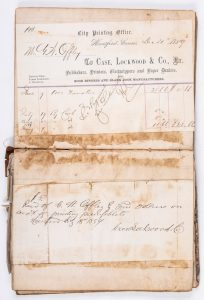 Anna Mae Duane has been using digital archives, like these 161-year-old receipts, in lieu of physical materials.  (Courtesy of the American Antiquarian Society)