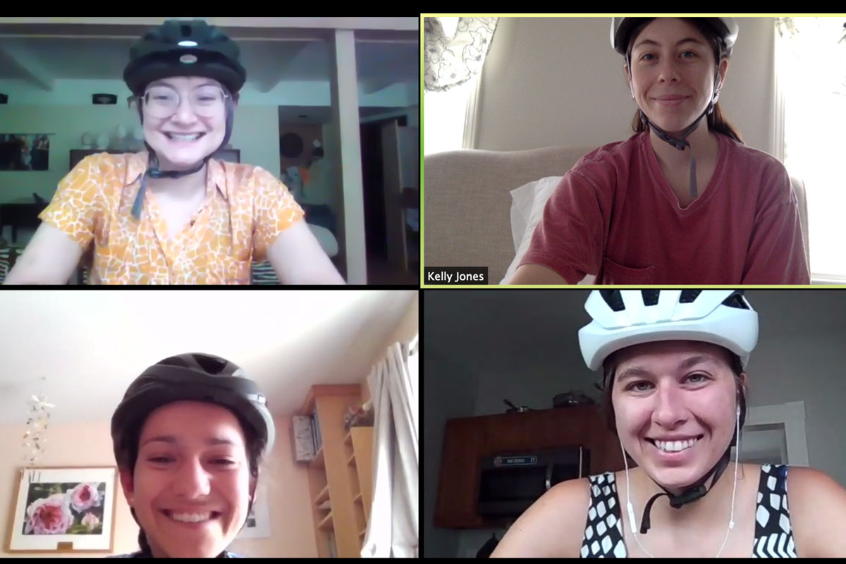 Web conference screen grab with the students wearing bike helmets