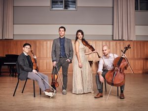 The Dover Quartet, which will perform three live, online concerts for the Jorgensen Center for the Performing Arts on July 14, July 21, and July 28