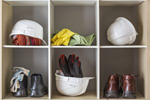 Storage of protective headwear, footwear and gloves